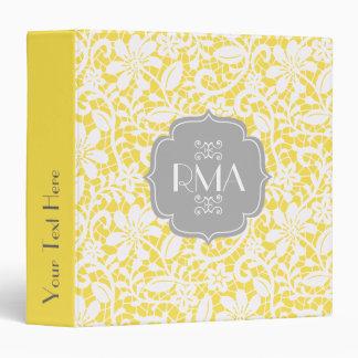 Elegant Yellow Vintage Lace Personalized Monogram Vinyl Binder