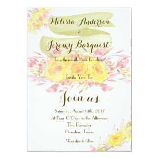 Elegant Yellow Watercolor Rose Wedding Invitations