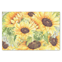 Elegant Yellow Watercolor Sunflowers Greenery Tissue Paper