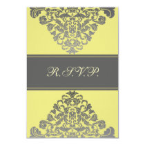 "elegant  ""yellow wedding RSVP Standard 3.5 x 5 Card"
