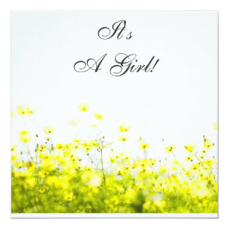 Elegant Yellow Wildflowers It's a Girl Baby Shower Card