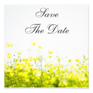 Elegant Yellow Wildflowers Save The Date Personalized Invite