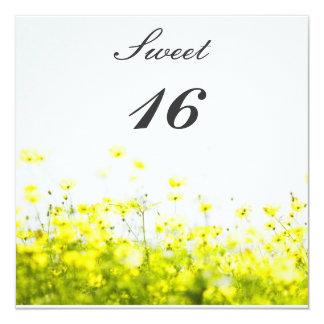 Elegant Yellow Wildflowers Sweet Sixteen Birthday Card