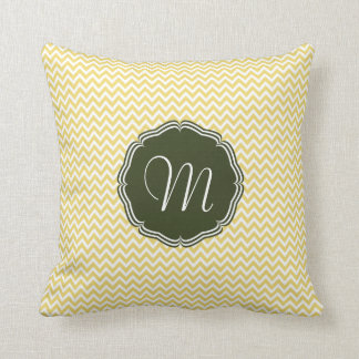 Elegant yellow zigzag of chevrón and monograma throw pillow