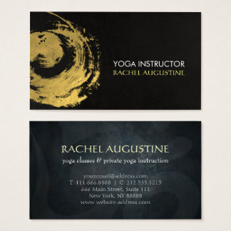 Elegant YOGA Gold Foil Brushstrokes ZEN Symbol Business Card