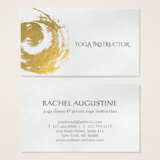 Elegant YOGA Gold Foil Brushstrokes ZEN Symbol Business Card