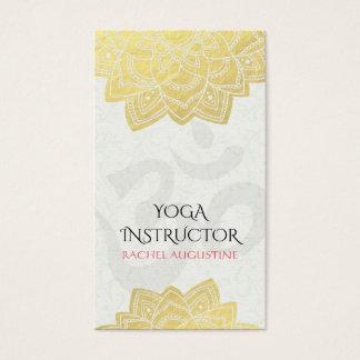 Elegant Yoga Gold Foil Floral Mandala & Om Symbol Business Card