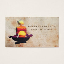 Elegant Yoga Instructor Sunset Watercolor Yoga Business Card