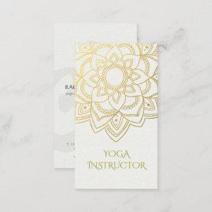 Yoga instructor business cards templates zazzle elegant yoga instructor white gold floral mandala business card colourmoves