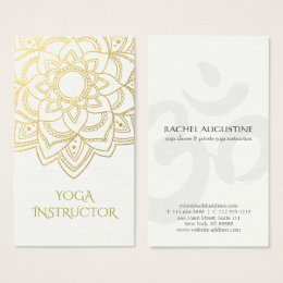 Yoga business cards templates zazzle elegant yoga instructor white gold floral mandala business card colourmoves Image collections
