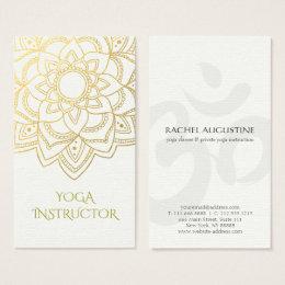 Yoga business cards templates zazzle elegant yoga instructor white gold floral mandala business card reheart Choice Image