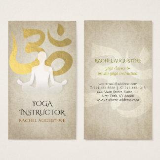 Elegant Yoga Meditation Pose Gold Foil Om Symbol Business Card