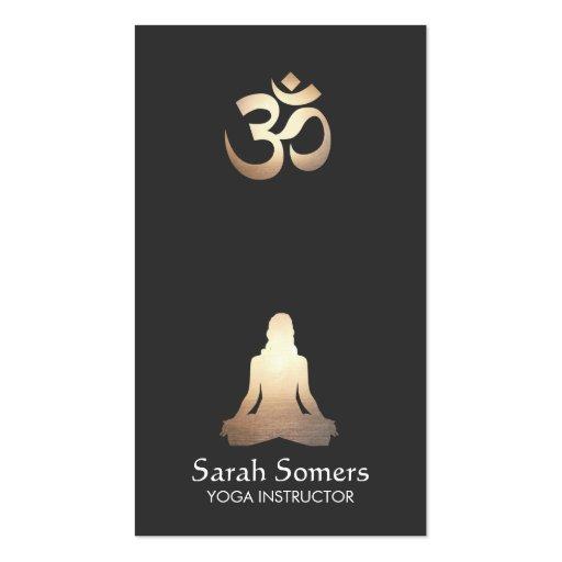 elegant yoga meditation pose om symbol business card    Yoga Meditation Pose