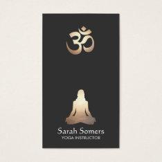 Elegant Yoga Meditation Pose Om Symbol Business Card at Zazzle