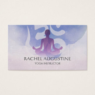 Elegant Yoga Meditation Pose Om Symbol Watercolor Business Card