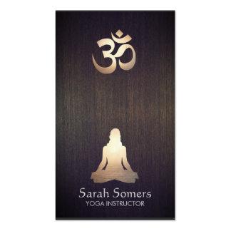 Elegant Yoga Meditation Pose Om Symbol Wood Look Double-Sided Standard Business Cards (Pack Of 100)