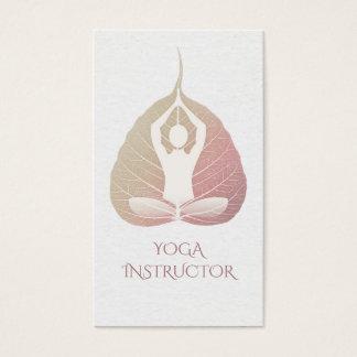 Elegant Yoga Meditation Posture with Bodhi Leaf Business Card