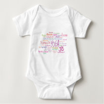 Elegant Yoga Poses Pink and Purple Pattern Asanas Baby Bodysuit