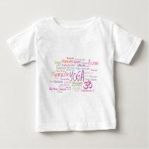 Elegant Yoga Poses Pink and Purple Pattern Asanas Baby T-Shirt