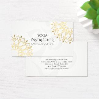 Elegant Yoga White Gold Floral Om Symbol Mandala Business Card