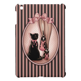 Elegant young woman and black cat cover for the iPad mini