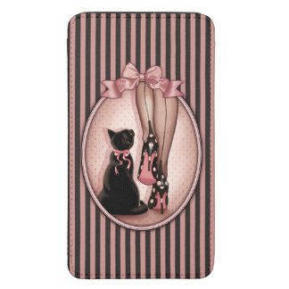 Elegant young woman and black cat galaxy s5 pouch
