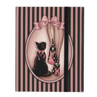 Elegant young woman and black cat iPad folio cases