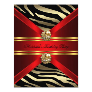Elegant Zebra Animal Regal Red Gold Black Birthday Card