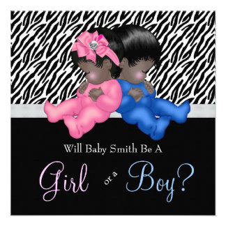Elegant Zebra Baby Gender Reveal Shower Personalized Invite