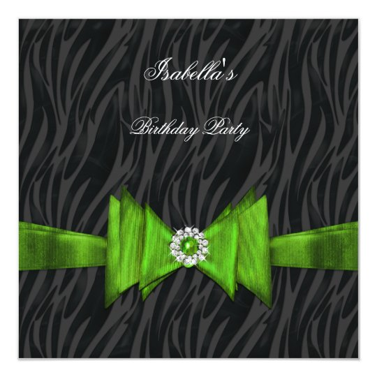 Elegant Zebra Birthday Party Lime Green Black Card
