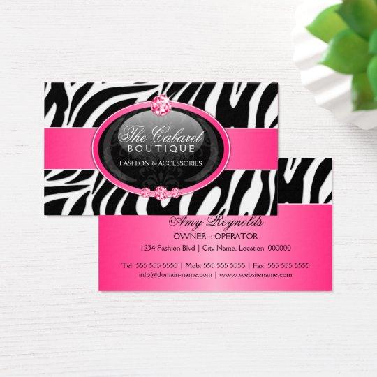 Elegant Zebra Fashion Jewelry Business Card