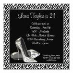Elegant Zebra High Heel Birthday Party Invite