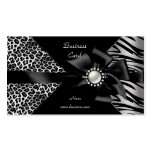 Elegant Zebra Leopard Black Diamond look Business Card Template