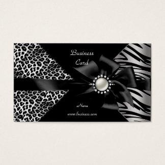 Elegant Zebra Leopard Black Diamond look Business Card
