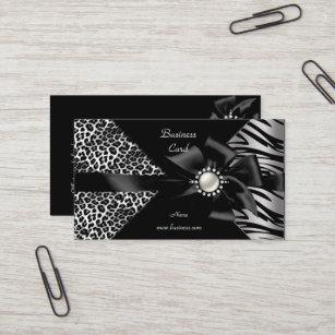 Diamond business cards zazzle elegant zebra leopard black diamond look business card colourmoves