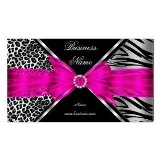 Elegant Zebra Leopard Black Hot pink 2 Double-Sided Standard Business Cards (Pack Of 100)