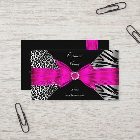 Elegant zebra leopard black hot pink business card zazzle elegant zebra leopard black hot pink business card colourmoves