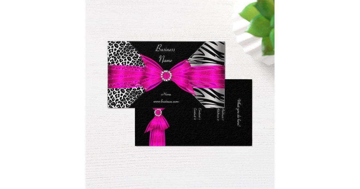 Elegant Zebra Leopard Black Hot pink Business Card   Zazzle.com