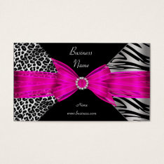 Elegant Zebra Leopard Black Hot Pink Business Card at Zazzle