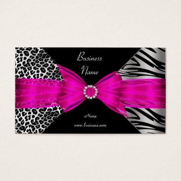 Professional Business Elegant Zebra Leopard Black Hot pink Business Card