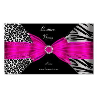 Elegant Zebra Leopard Black Hot pink Double-Sided Standard Business Cards (Pack Of 100)