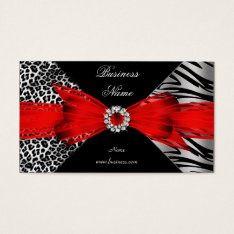 Elegant Zebra Leopard Black Red Business Card at Zazzle