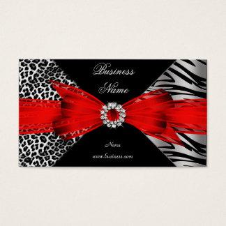 Elegant Zebra Leopard Black Red Business Card