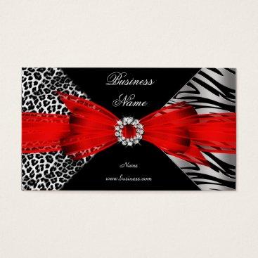 Professional Business Elegant Zebra Leopard Black Red Business Card