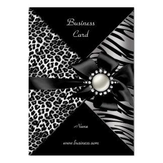 Elegant Zebra Leopard Black Silver Bow Diamond Business Card Templates