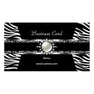 Elegant Zebra Leopard Black Silver Diamond Pearl Business Card Template