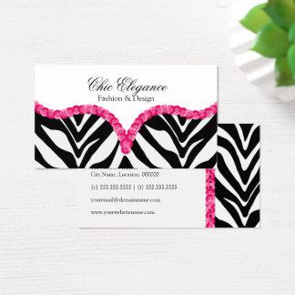 Elegant Zebra Pattern Sequin Look Business Card