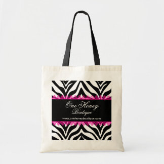 Elegant Zebra Print and Pink Lace Personalized Bag