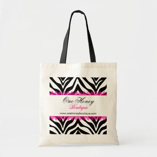 Elegant Zebra Print and Pink Lace Personalized Bag Tote Bags