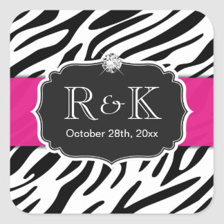 Elegant Zebra Print Hot Pink Wedding Initials Date Square Sticker